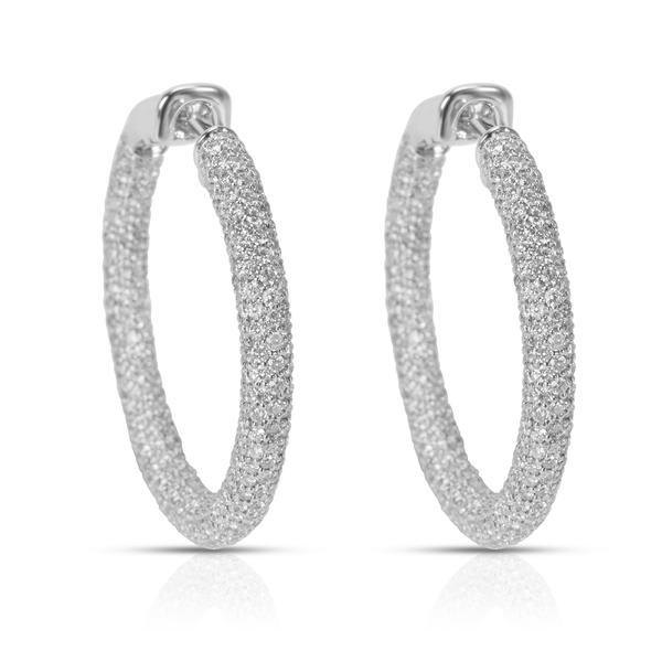 Pave Diamond Hoop Earrings in 18k White Gold (5.33 CTW)