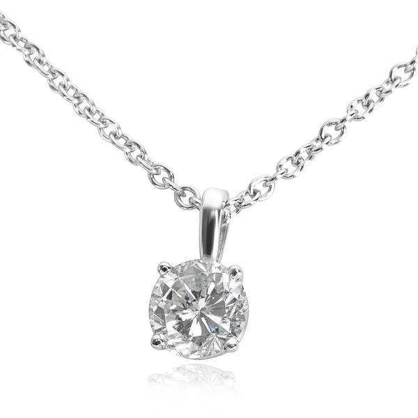IGL Certified Diamond Pendant Necklace in 14K White Gold (0.64 CTW)