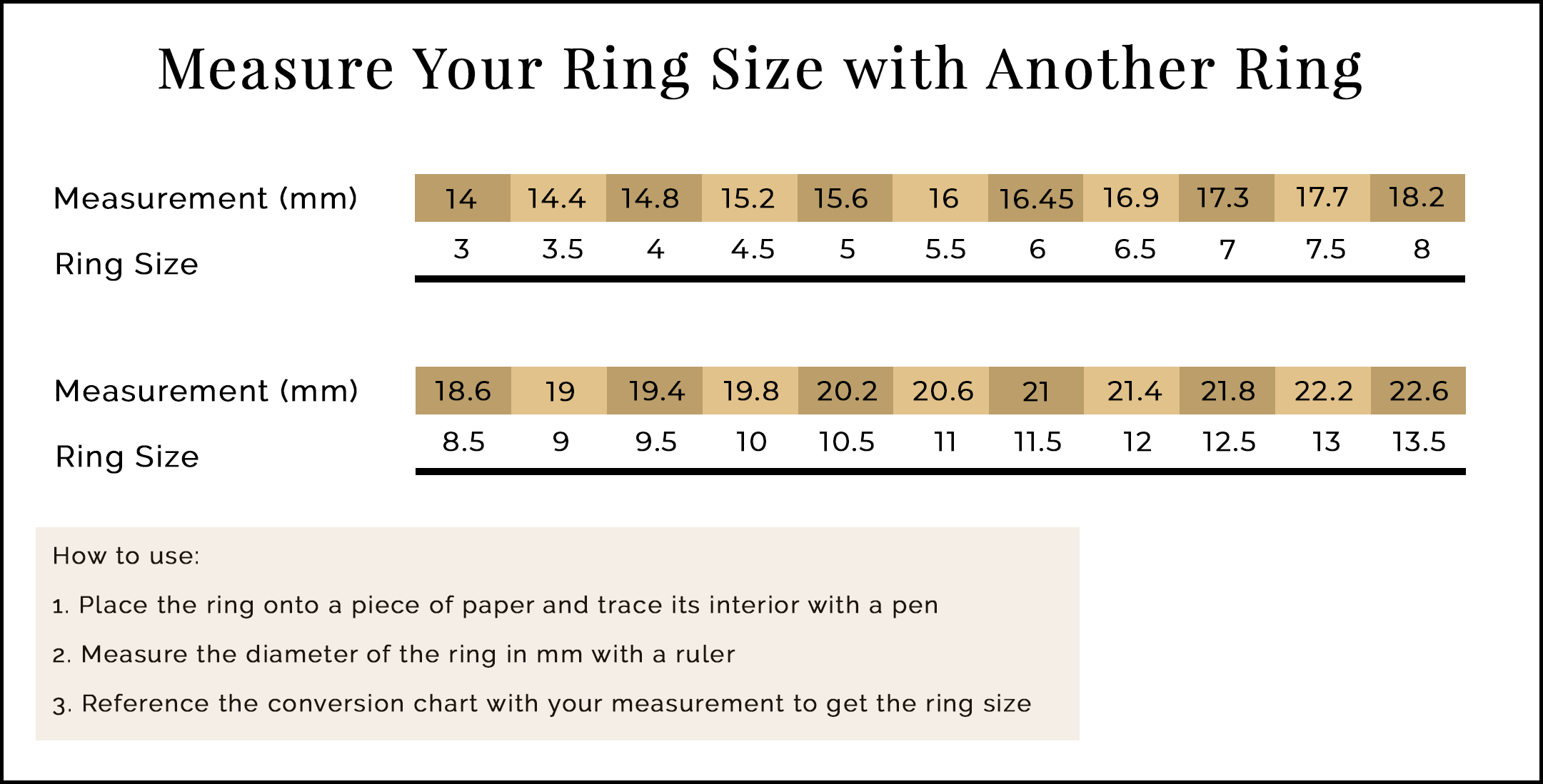 2. Measure ring size with another ring: