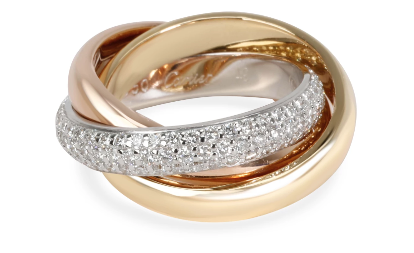 Cartier Trinity Classic Diamond Ring in 18K white, yellow, rose gold.