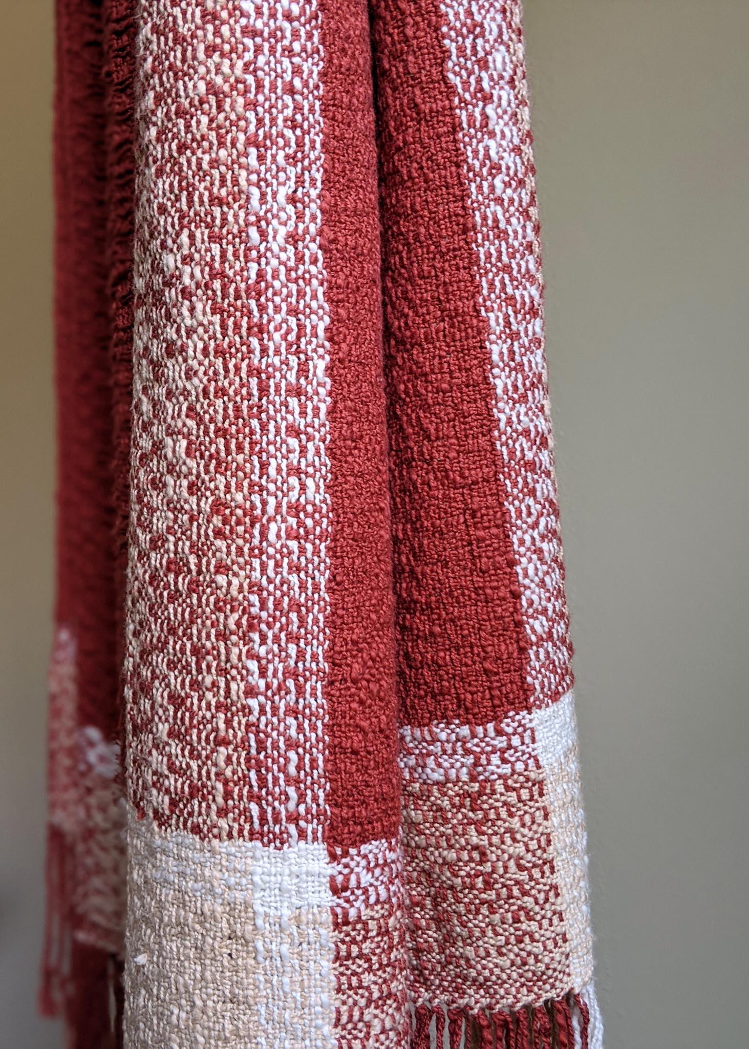 handwoven brick and mortar scarf