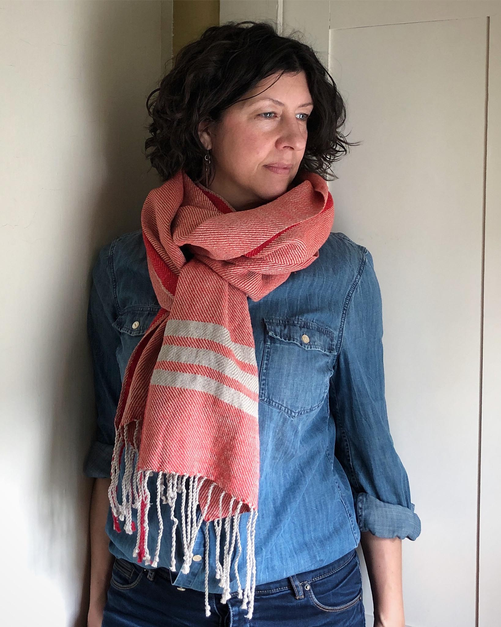 Free Pattern to Weave a Cotton and Linen Spring Scarf