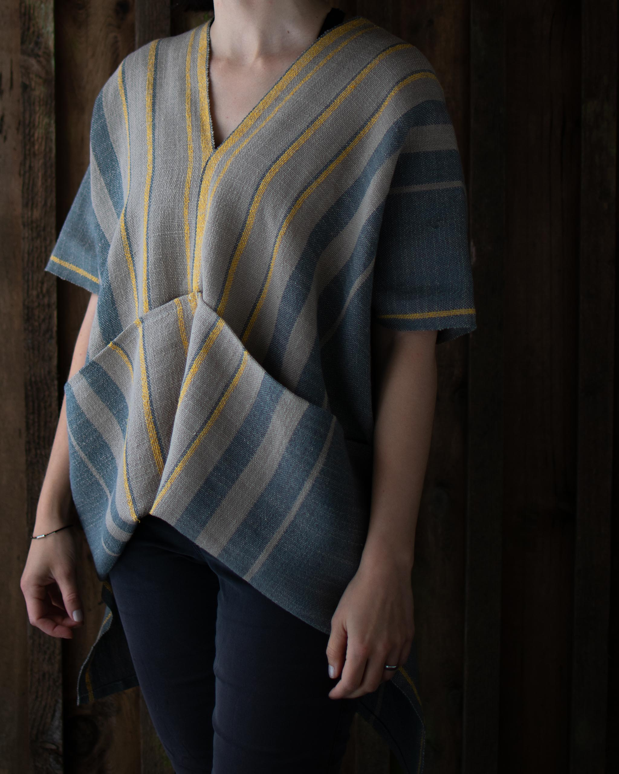 Handwoven Cotton and Linen Spring Tunic Top by Black Birch Textiles