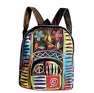 Hippie Peace And Flower Backpack