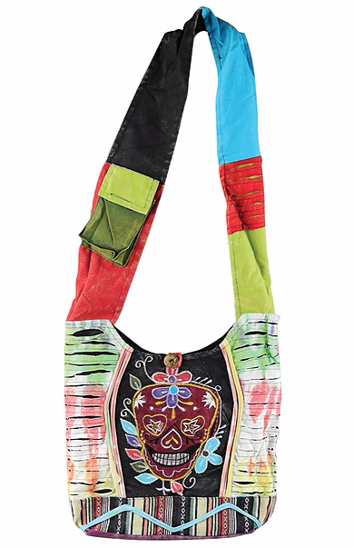 RAZOR CUT SHOULDER BAG - SUGAR SKULL DESIGN