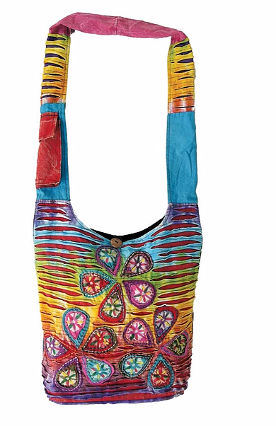 RAZOR CUT SHOULDER BAG WITH FLOWER PETALS