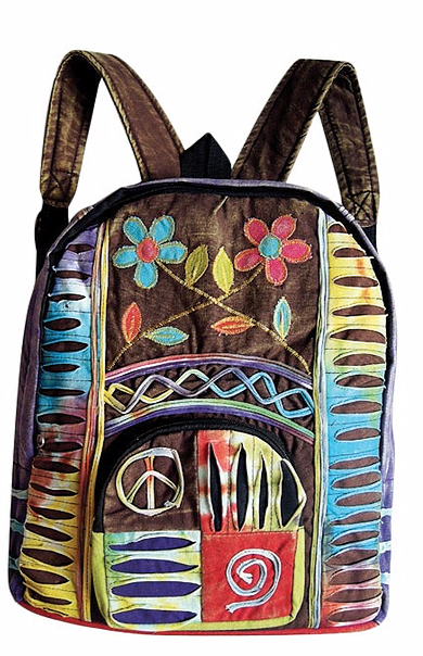 HIPPIE BACKPACK WITH FLOWERS & PEACE