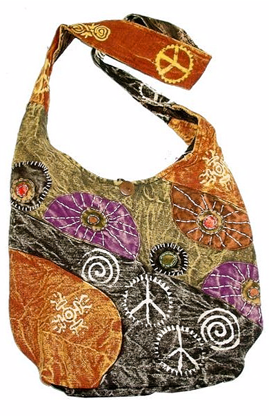 DISTRESSED HOBO BAG WITH PEACE SIGNS