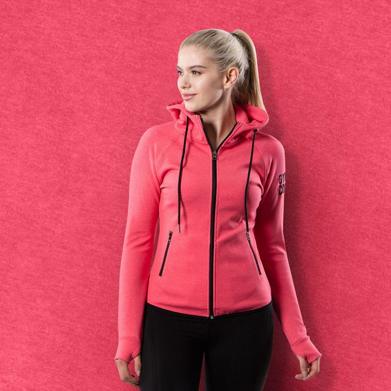 Gym+Coffee Coral Womens Fleece Athleisure Hoodie