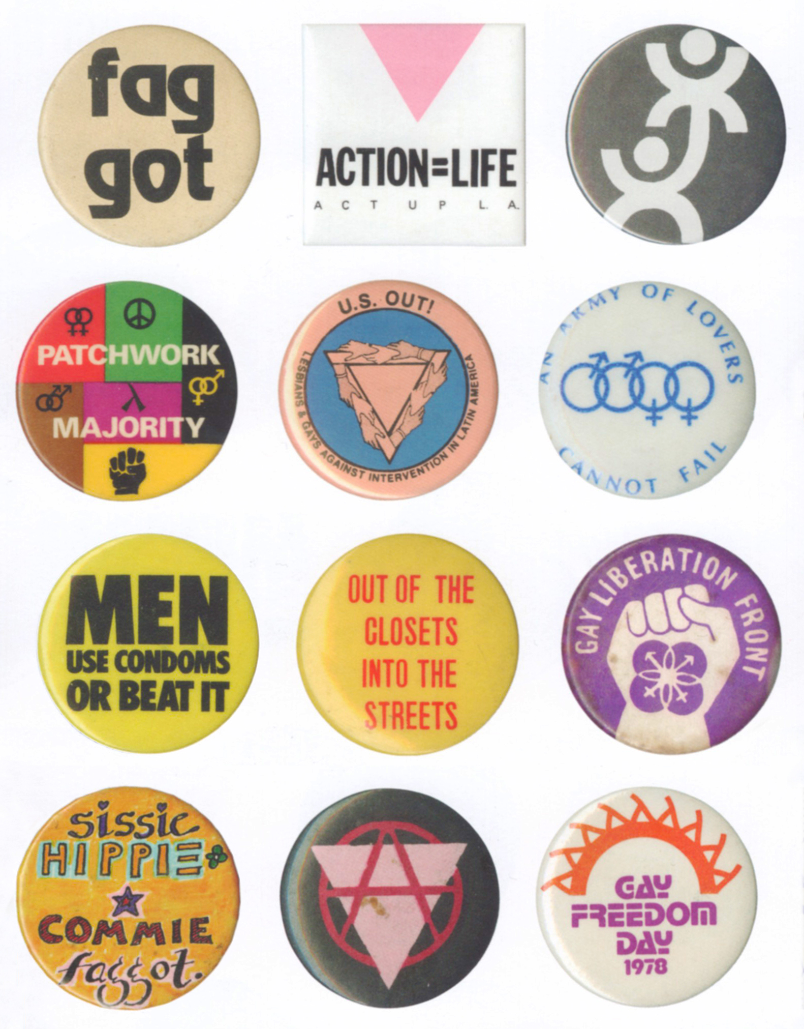 Gay buttons 1970's & 1980's
