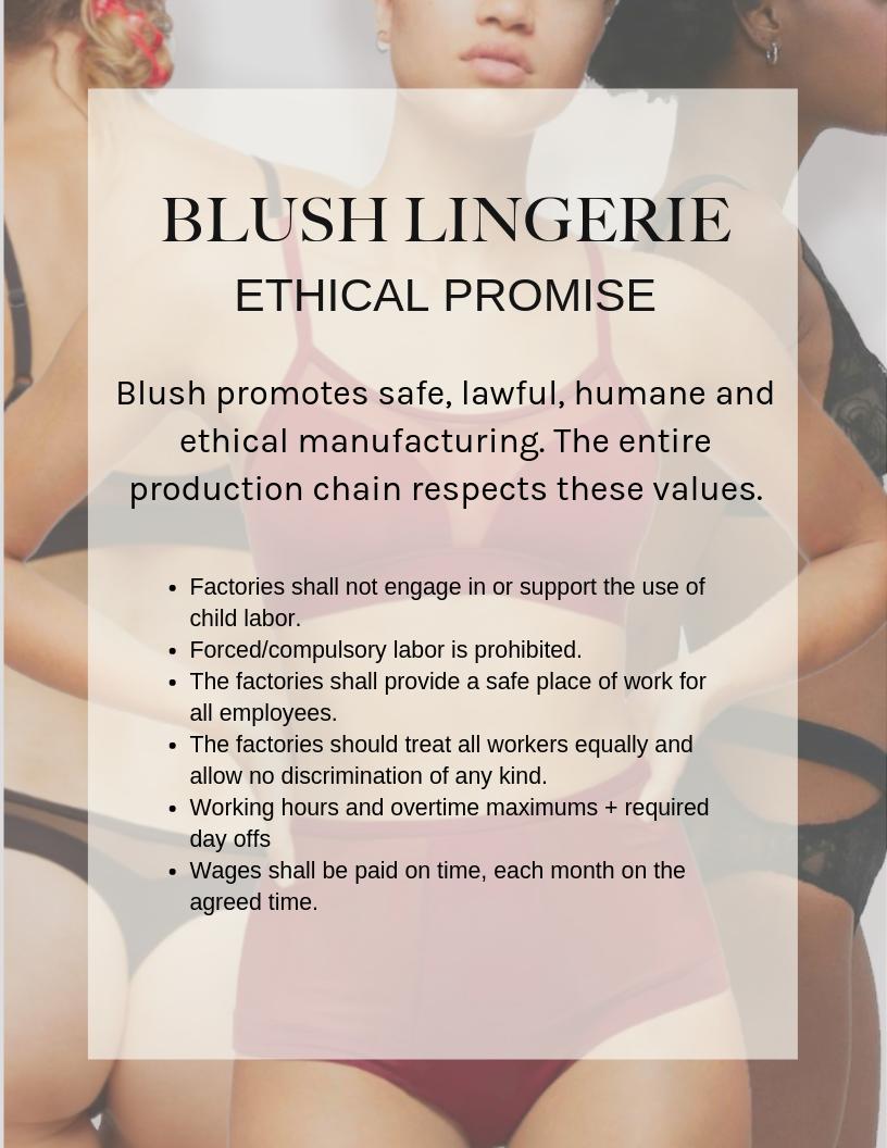 Blush Lingerie Ethical Promise