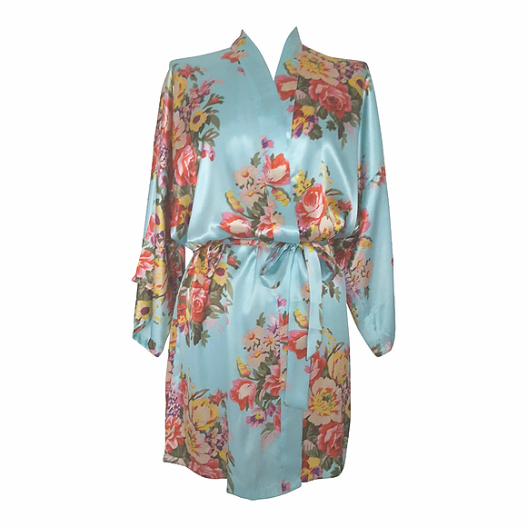 floral satin bride bridesmaids dressing gowns
