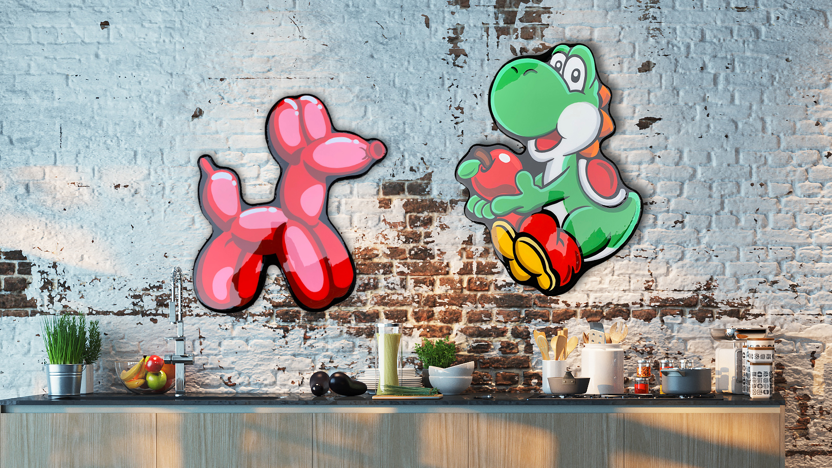 Ballon Friend and Yoshi art- Safe to hang in kitchen or bathroom