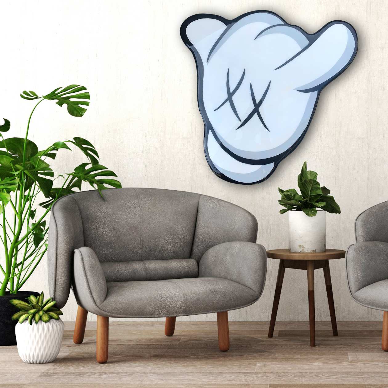 Hang Loose Kaws Inspired Wall Art by Idiot Box Art
