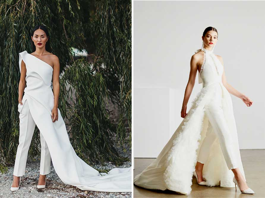 2 Bold neckline examples of modern wedding dress styles