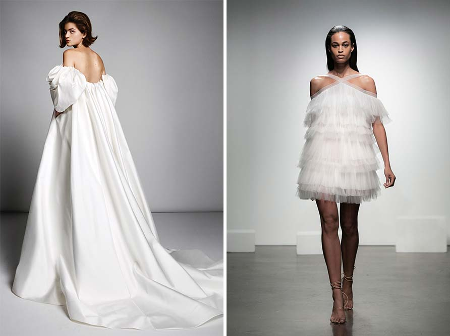 2 layered examples of modern wedding dress styles