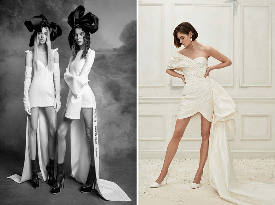 2 examples of modern wedding dress styles with lots of leg