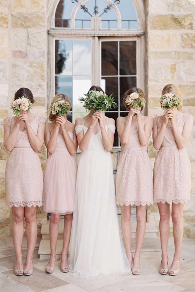 short and sweet lace bridesmaid dresses