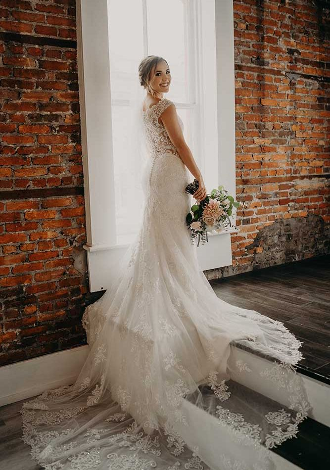 Bride wearing her Wedding Gown
