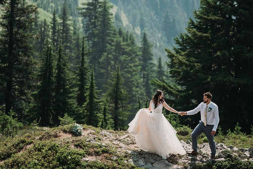 bride and groom in Mount Rainier at their wedding elopement