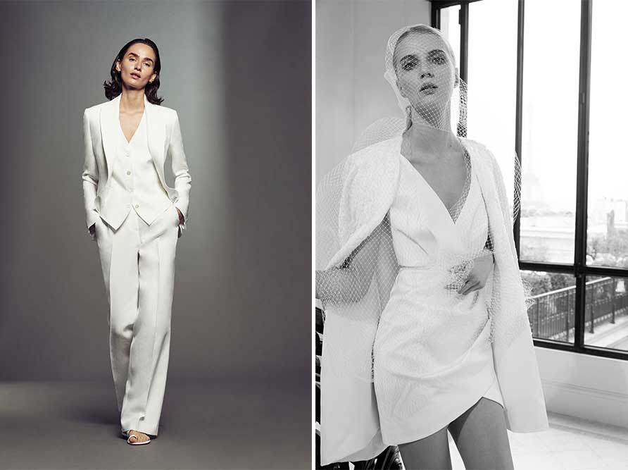 2 Suit Coat examples of modern wedding dress styles