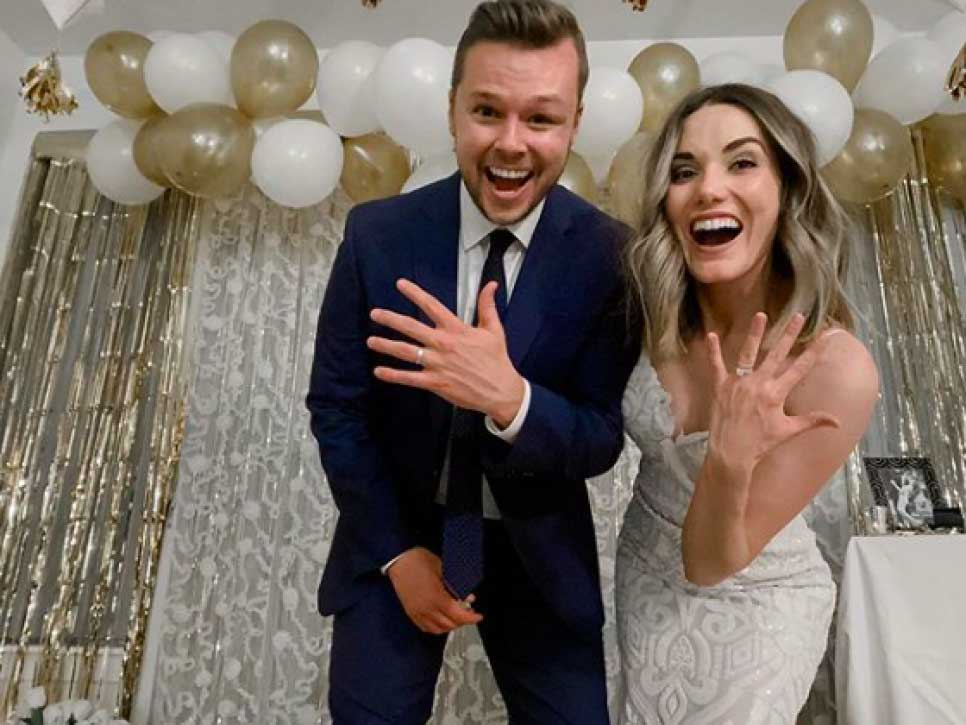 newlyweds celebrating their live streamed wedding