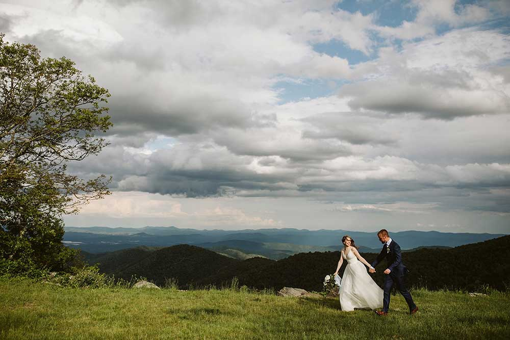 bride and groom on the Appalachian Trail for their wedding elopement