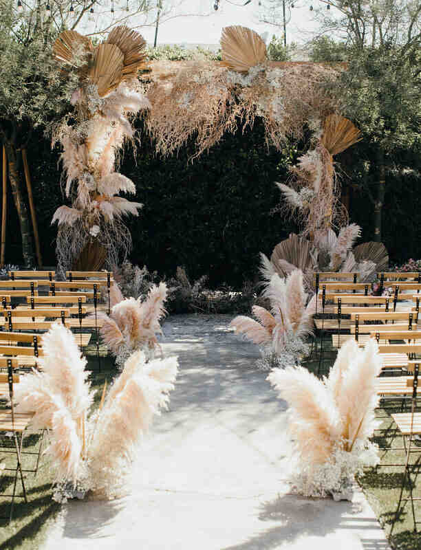 dried floral arch for wedding ceremony
