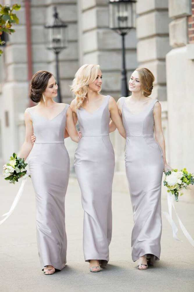 satin classic bridesmaid dresses