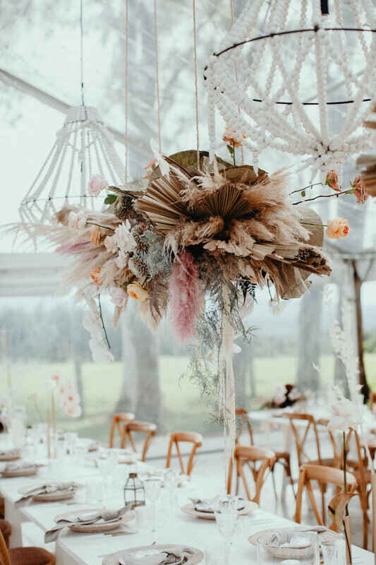 dried floral hanging chandelier