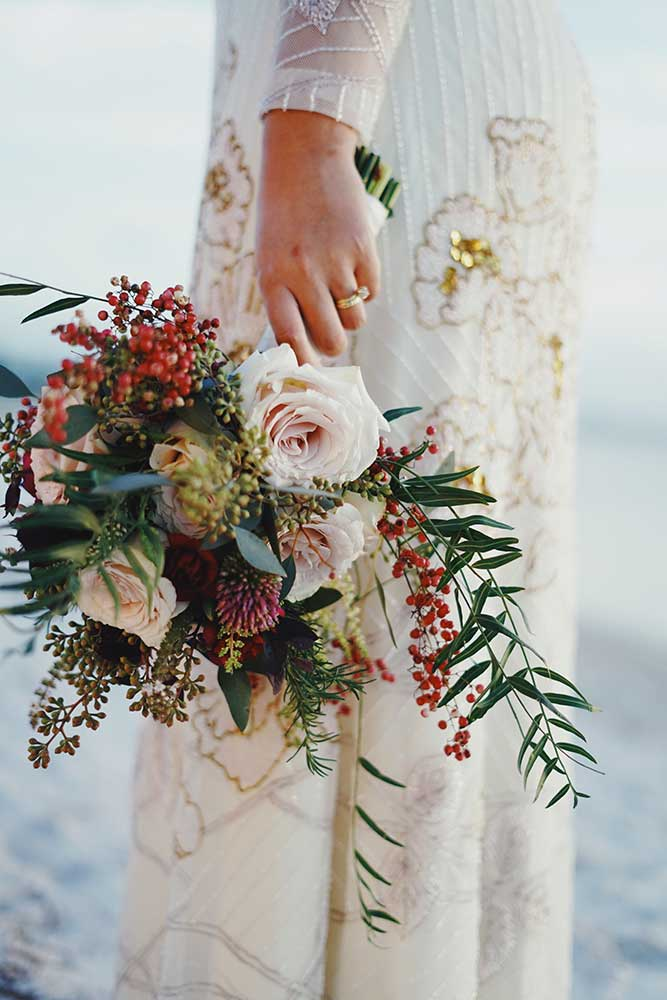 Detail shot of bride holding bouquet