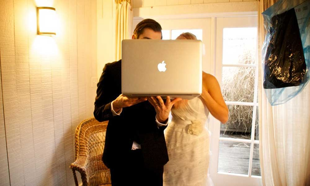Bride and Groom on Live Stream Wedding