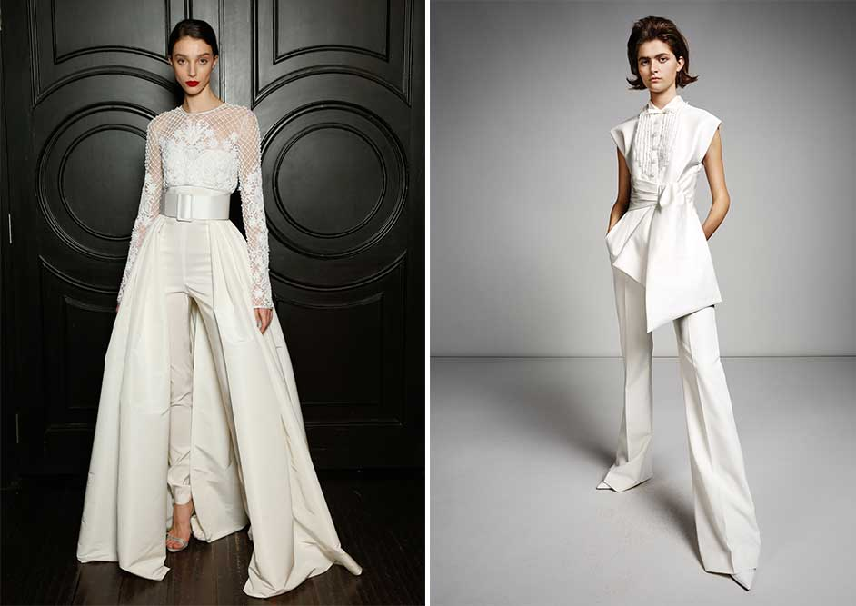 2 Jumpsuit examples of modern wedding dress styles