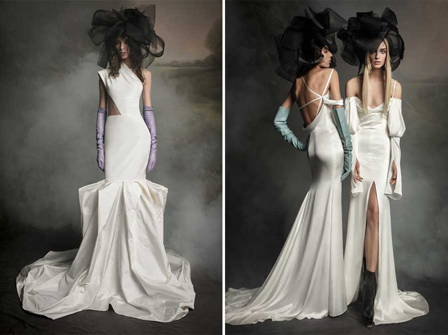 2 Slit and Cutout examples of modern wedding dress styles