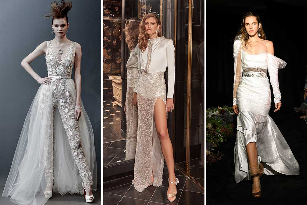 Three examples of modern wedding dress styles