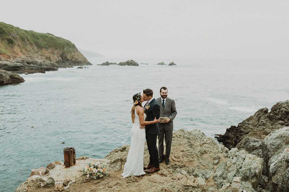 bride and groom at Big Sur California for their wedding elopement