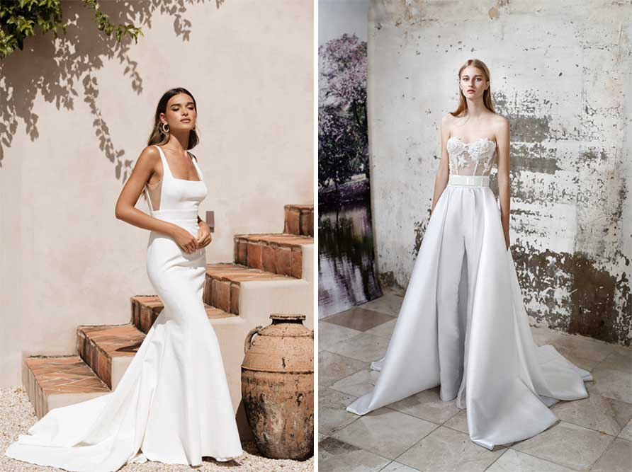 2 Sheer Elements examples of modern wedding dress styles