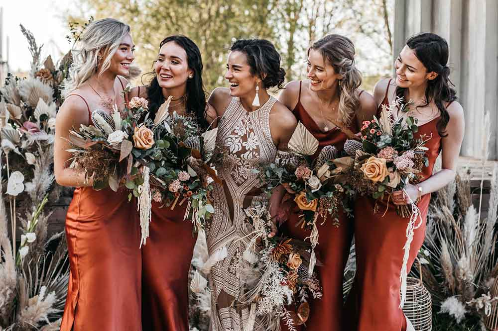 silk slip bridesmaids dresses