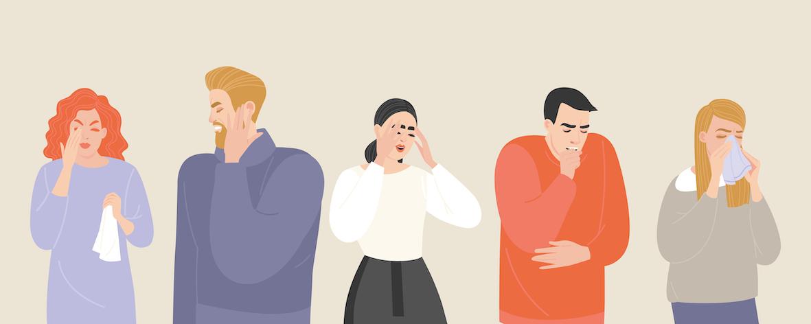 grafik-mit-menschen-die-sich-die-nase-üutzen-oder-kopfschmerzen-haben-symptome-für-erkaeltung-und-vitamin-c-mangel