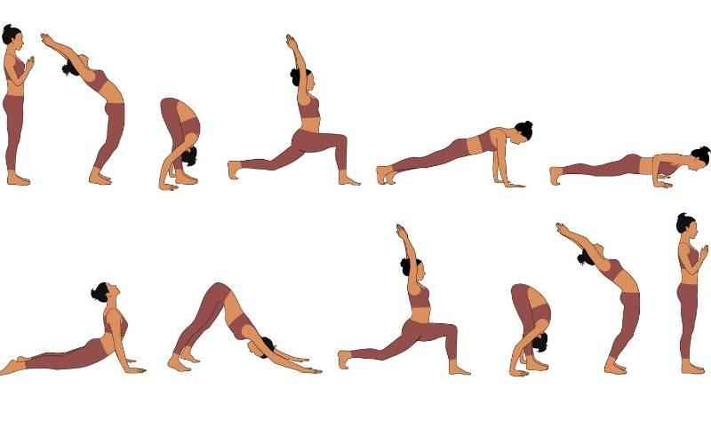 Frau macht Yoga-Übungen des Sonnengruß in einer Abfolge