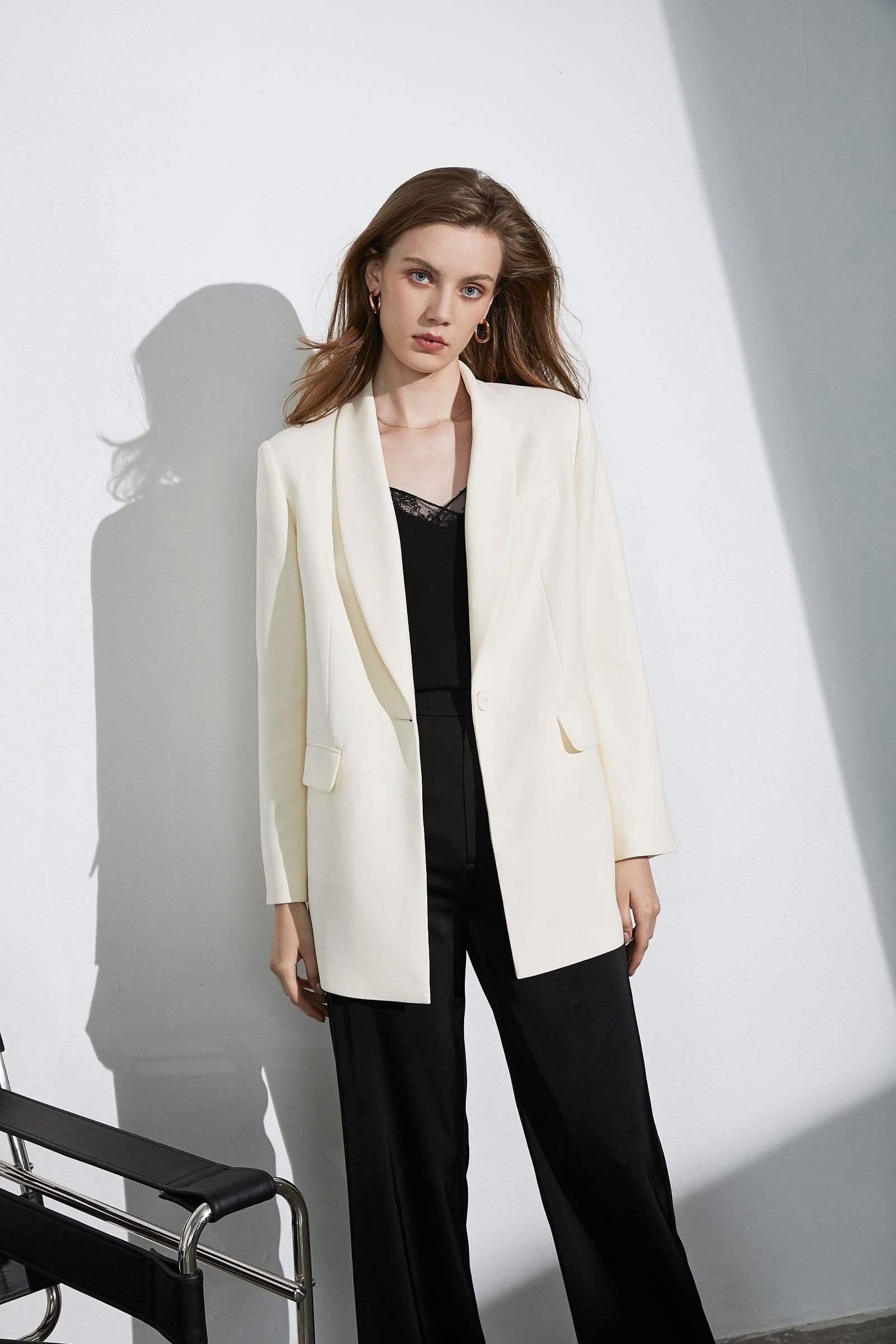 Greyscale Wrap Blazer Coat for women by J.ING