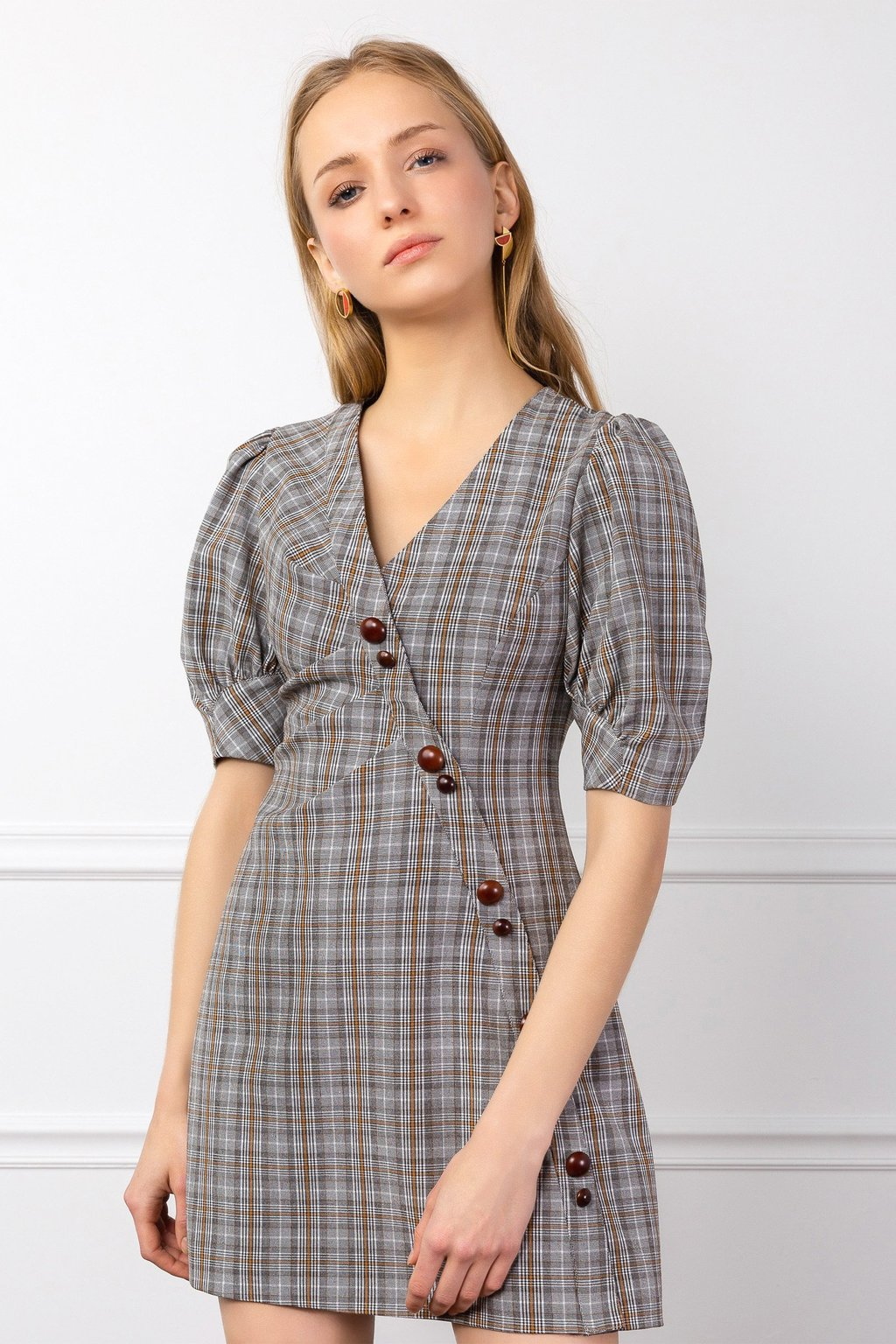 Good to Be Plaid Wrap Dress by J.ING LA Women's Fashion