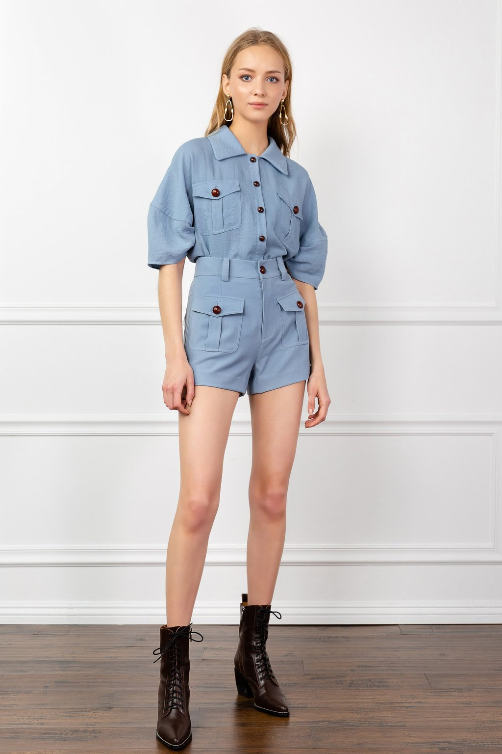 Blue Barry Shirt by J.ING women's fashion clothing