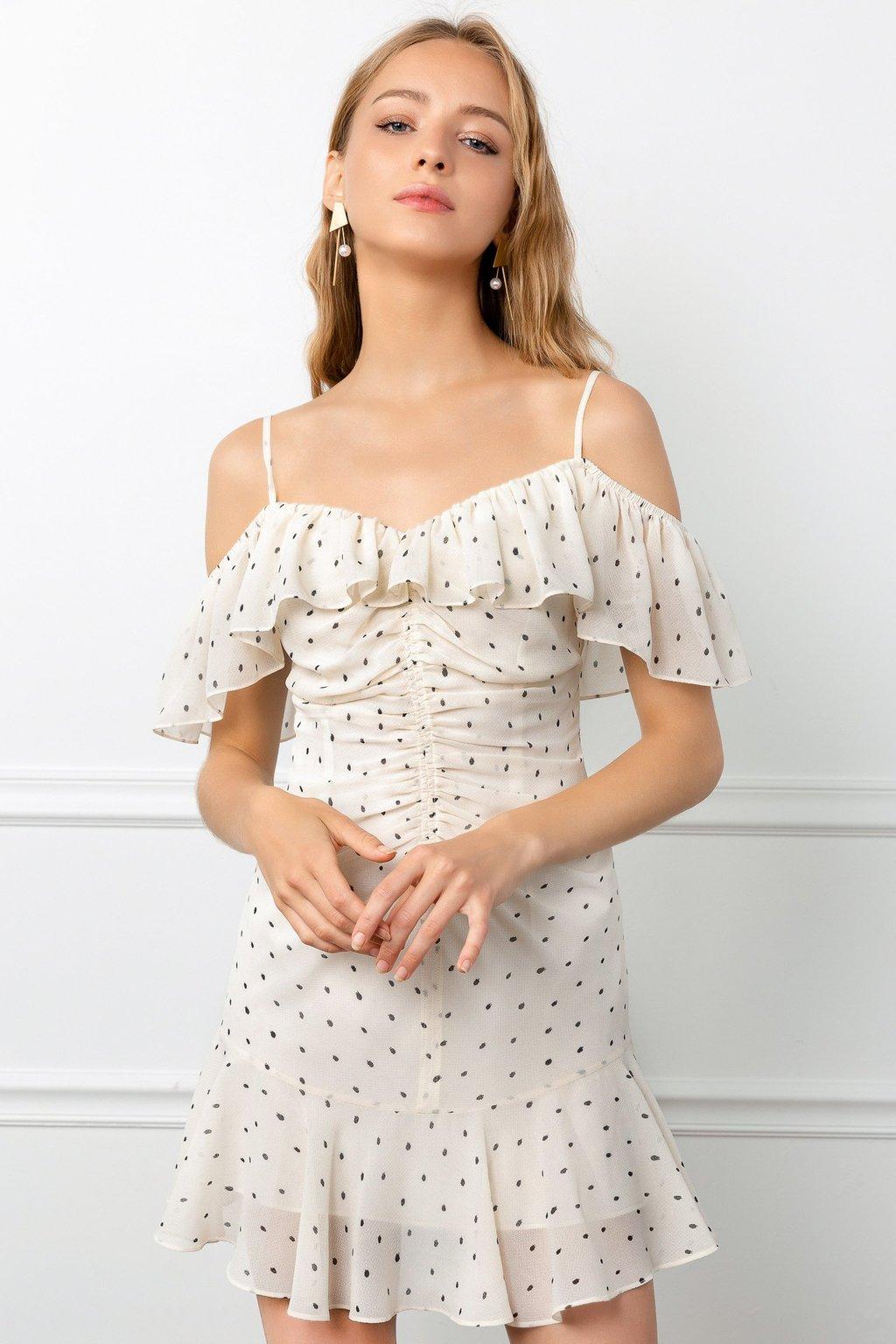 Polka Dot Rosaline Dress by J.ING la women's fashion