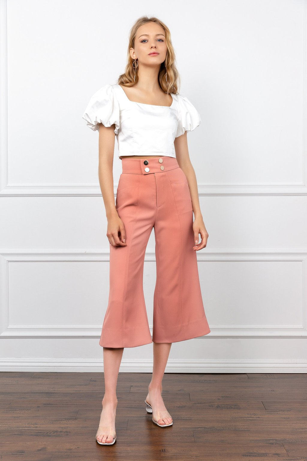J.ING's peach colored cropped pants