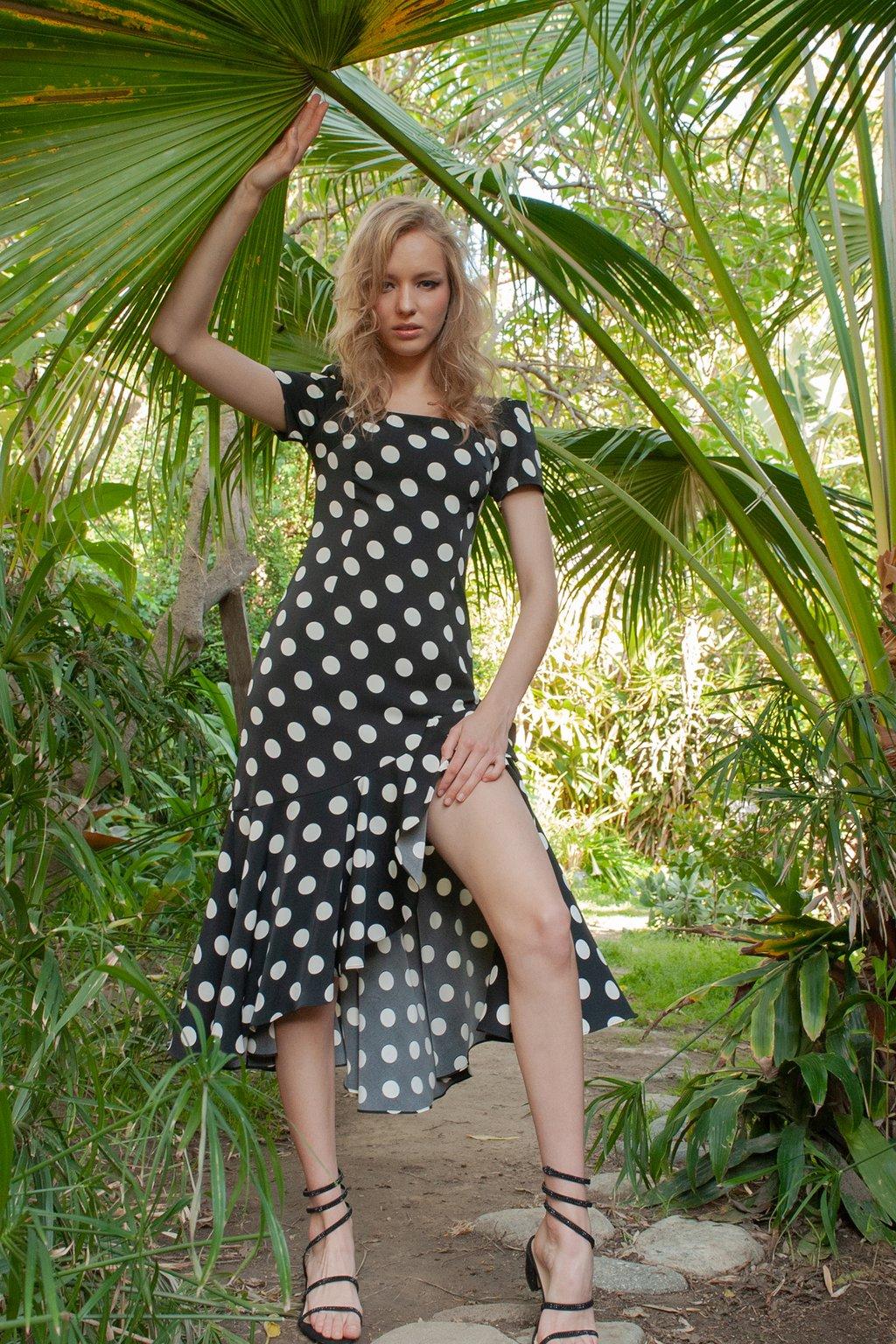 Ada Polka Dot Dress by J.ING women's fashion clothing