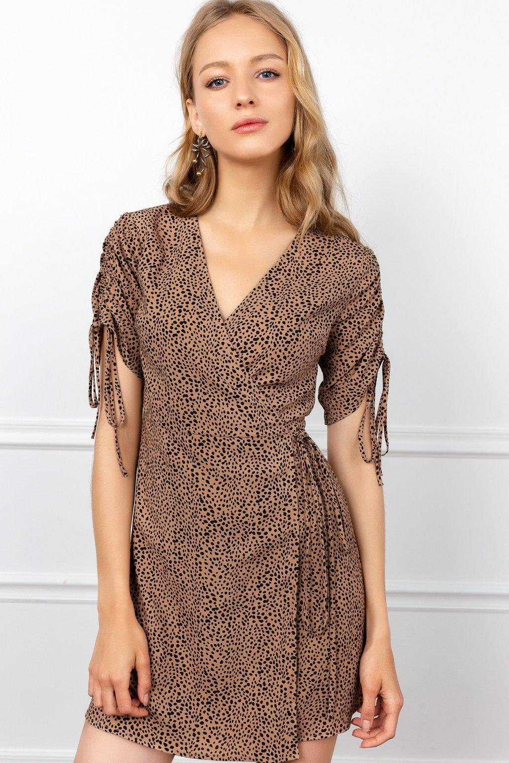 Cheetah Surplice Mini Dress by J.ING LA women's fashion