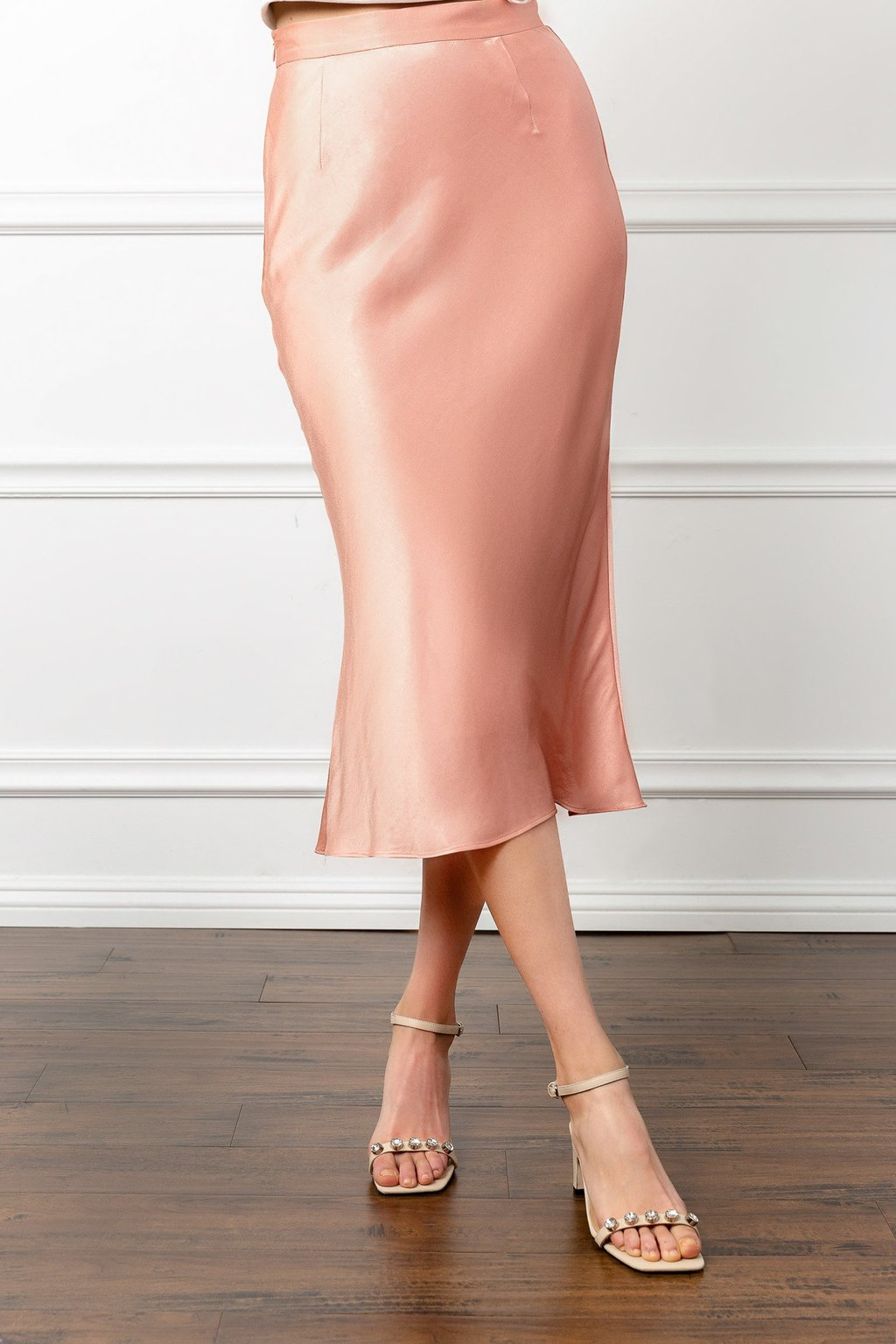 Silky Coral Midi Skirt by J.ING women's clothing