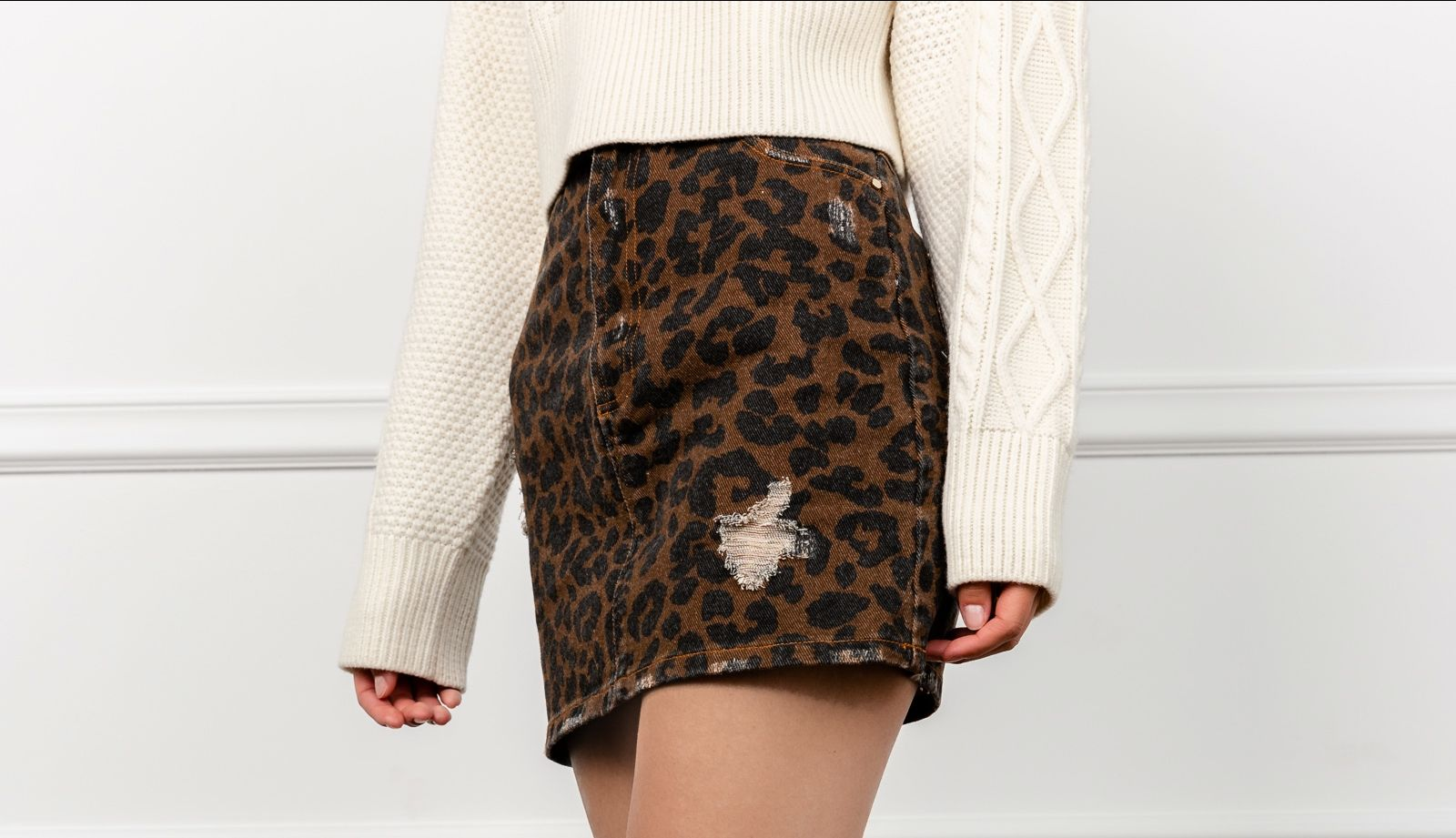 Pounce Leopard Mini Skirt by J.ING Women's Skirts
