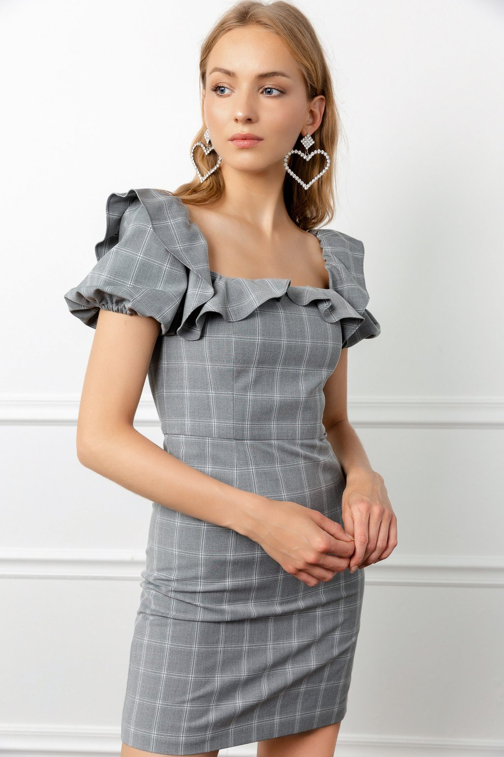Petunia Plaid Dress and May Earrings by J.ING women's fashion and accessories